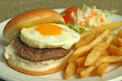 Egg Burger With Fries and Coleslaw. An enticing shot of hamburger with egg,fries and coleslaw royalty free stock image