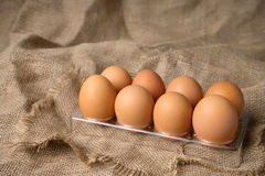 Egg on burlap material background  plastic tray Royalty Free Stock Photo