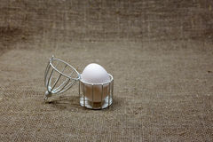 Egg in cage on dark green rough cotton texture art concept Stock Images