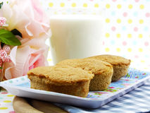 Egg cake coffe flavor and milk Stock Images