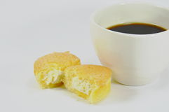 Egg cake with cream filling and black coffee Stock Photography