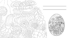Egg1 card. Invitation card for Easter with a sketch of the house in a forest, meadows and flowers, black on white background Royalty Free Stock Image