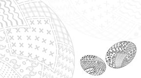 Egg card pachwork2. Invitation card designed by easter eggs in style patchwork vector black and white, of pieces of fabric  traditional Royalty Free Stock Images