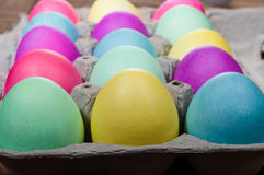 Egg carton of colorful dyed Easter eggs Stock Images