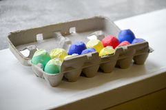 Egg carton of confetti eggs Stock Images