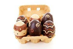 Egg carton with decorated easter eggs Royalty Free Stock Photos