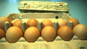 Egg carton. A dolly shot of a carton of eggs stock footage