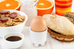 Egg with cereals, bread Stock Images