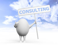 Egg Character Holidng Consulting Sign Stock Photography