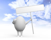 Egg Character Holidng a Sign. 3D illustration of a cartoon egghead character holding a blank sign under blue sky Stock Photo