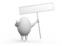 Egg Character Holidng a Sign. 3D illustration of a cartoon egghead character holding a blank sign. Isolated on white background Stock Images
