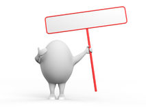 Egg Character Holidng a Sign. 3D illustration of a cartoon egg character holding a blank sign. Isolated on white background Royalty Free Stock Image