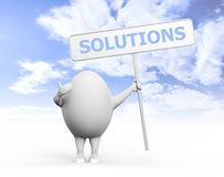 Egg Character Holidng Solutions Sign. 3D illustration of a cartoon egghead character holding a sign with Solution written on it under blue sky Royalty Free Stock Image