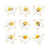 Egg Character - vector set of mascot illustrations. Egg Cartoon Character - modern vector template set of mascot illustrations. Gift images of egg, dancing Royalty Free Stock Photo