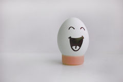 Egg cheerful with a face alone anecdote. Egg cheerful with a face alone on a white background concept of a funny joke anecdote. Photo for your design Stock Image