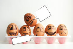 Egg with a cheerful painted face. Photo royalty free stock photo