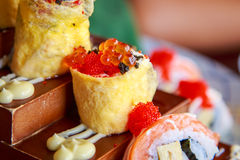 Egg and cheese roll with salmon egg sushi Japanese food Stock Photography