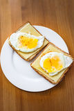 Egg and cheese toast for breakfast Royalty Free Stock Image