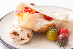 Egg, cheese and tomato wrap Royalty Free Stock Photography