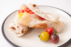 Egg, cheese and tomato wrap Stock Image