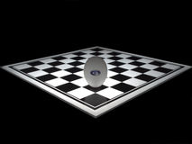 Egg on the chessboard. Egg with the start pause button standing on the chessboard, turned on diagonal with blurred the far edge vector illustration