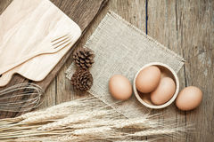Egg, Chicken Egg in wood bowl, Top view Royalty Free Stock Image