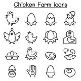 Egg & Chicken farm icon set in thin line style. Egg & Chicken farm icon set in thin line style vector illustration graphic design Royalty Free Stock Image