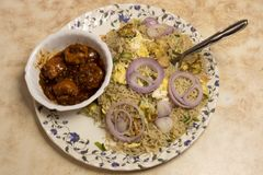 Egg Chicken Fried Rice and Chilli chicken is a popular Indo-Chinese dish of Nonveg in India stock photos