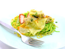 Egg chinese dry noodles with roast red pork dumpling Stock Photography