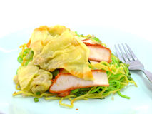 Egg chinese dry noodles with roast red pork dumpling Royalty Free Stock Photo