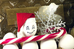 Egg in christmas hat Stock Photo