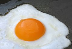 Egg close up frying in pan Royalty Free Stock Photos
