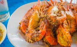 Egg coated grilled prawns Royalty Free Stock Image