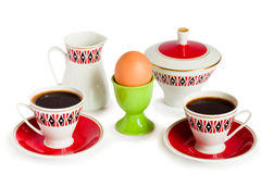 Egg and coffee service Royalty Free Stock Photography