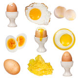 Egg collection isolated on white background. Fried, boiled, broken, scrambled, omelette Royalty Free Stock Photography