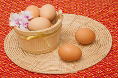 Egg collection on thai fabric Stock Image