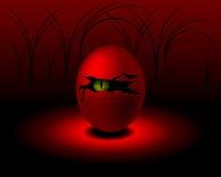 Egg com shell e a cavidade rachados no meio com monstro ilustração stock
