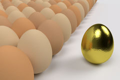 Egg commander. Golden egg in front of a crowd of ordinary eggs, 3d rendering Stock Photography