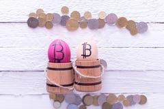 Egg con el bitcoin en un pequeño barril de madera Foto de archivo libre de regalías