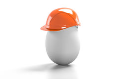 Egg construction helmet. On a white background Royalty Free Stock Images