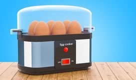 Egg cooker or egg boiler with eggs on the wooden table. 3D rende stock illustration