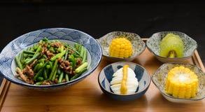 Egg, Corn, Kiwi With Bowls Stock Photography