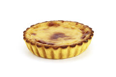 Egg cream brulee pie. In a white background Royalty Free Stock Image