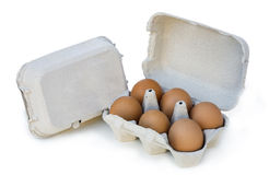 Egg cup with six eggs on white background Stock Images