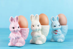 Egg cups with easter bunny Royalty Free Stock Photo