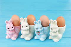 Egg cups with easter bunny Royalty Free Stock Images