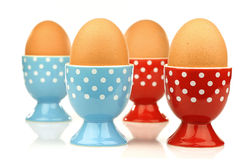 Egg cups with eggs Royalty Free Stock Photography