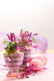 Egg Cups With Flower Decorations Royalty Free Stock Images