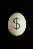 Egg with currency sign of dollar on it Stock Photos