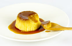Egg custard with caramel sauce Royalty Free Stock Photography